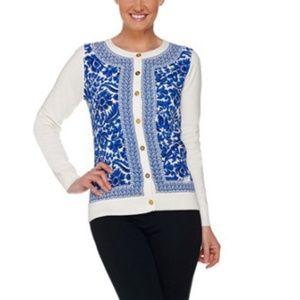 C Wonder Cardigan Sweater Baroque Print Size 3X